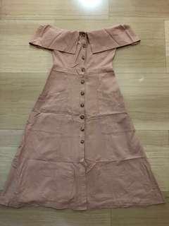 Pink Off Shoulder Button Maxi Dress