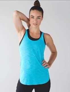 Lululemon 'what the sport singlet' - size 4 tank top in heathered fresco blue