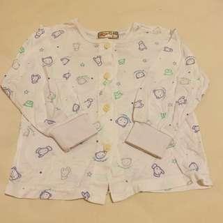 🚚 小三福嬰幼兒白色純棉薄長袖套裝 (8M~12M/上衣+長褲)