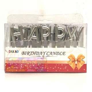 Lilin Happy Birthday - Set Huruf HBD Silver - Lilin Ulang Tahun Ultah