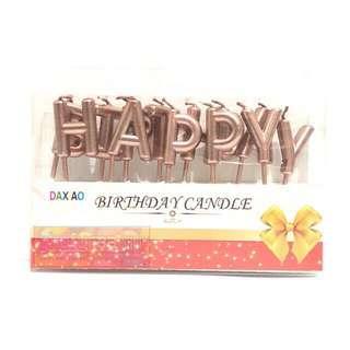 Lilin Happy Birthday - Set Huruf HBD Rose Gold - Lilin Ulang Tahun Ultah