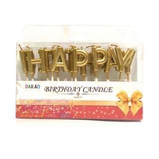 Lilin Happy Birthday - Set Huruf HBD Gold - Lilin Ulang Tahun Ultah