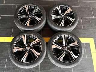 Sport rim 17 inch original Honda civic fc 1.5 turbo with tyre continental mc5