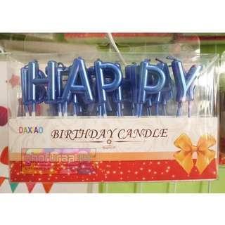 Lilin Huruf Happy Birthday Set Biru