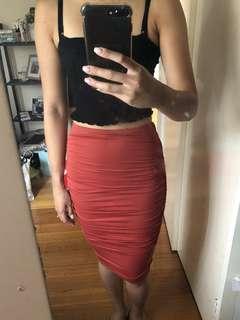 Orange bodycon midi skirt