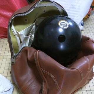 Ace Limited Bowling Ball 14 pounds / lbs with free vintage leather carrying bag