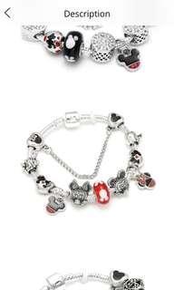 Yr End Sales Mickey Charm Bracelet Fit 3.0 mm Snake Chain Pandora Bracelet
