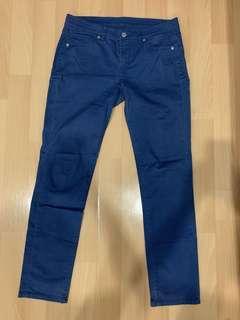 Uniqlo 藍色斜布長褲