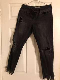Zara acid wash frayed jeans
