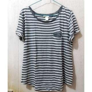 H&M Gray & White Stripes T-Shirt