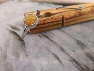 Yellow Jadeite Silver Ring