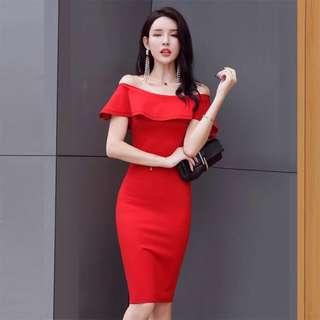 <New> Red off-shoulder dress with ruffles