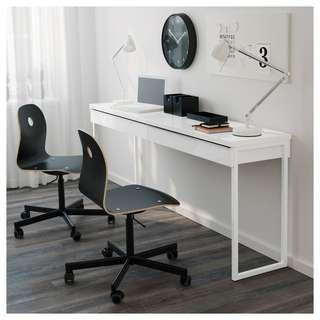 Ikea BESTÅ BURS Long Designer Elegant White High-Gloss Desk