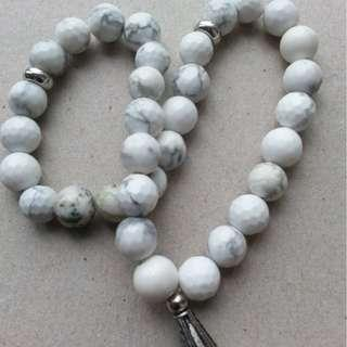 TASBIH WHITE TURQUOISE STONE  33 beads 8mm