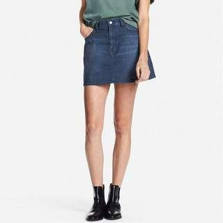 UNIQLO WOMEN HIGH WAIST DENIM MINI SKIRT