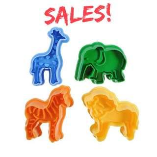 4 pc Animal Themed Cookie Cutter & Embossing Set