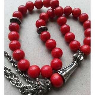 TASBIH RED CORAL STONE 33 beads