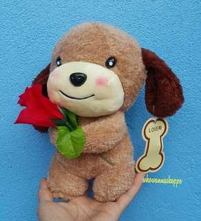 Puppy with Rose (Window Stick-on)