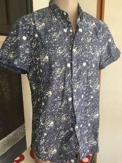 LN Superdry Poolside/Splash Paint S/S Shirt Blue XL(W34)