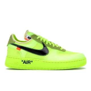 💯[IN TRANSIT-US11] Nike Air Force 1 Low Off-White Volt