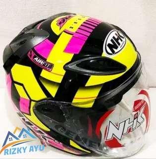 helm nhk R6 motif cube blck pink yelau hitam kuning half face