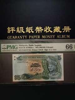 🇲🇾Malaysia 5th Series RM5 Banknote ~ First Prefix NA ~ PMG 66EPQ Gem UNC