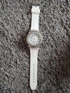 Geneva White Crystal Watch with Led Lights