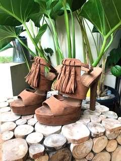 HM Brown Fringe Heels 15cm Boho - Sepatu Coklat