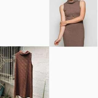 BROWN TURTLE NECK DRESS