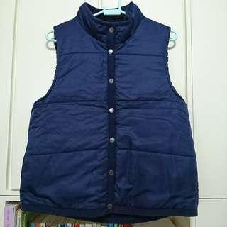 女裝 深藍色 雙面 風褸/抓毛 背心外套 (大碼/L size)