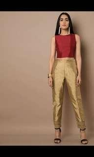 Gold mesh insert silk cigarette pants