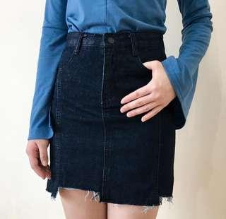 Irregular black denim skirt