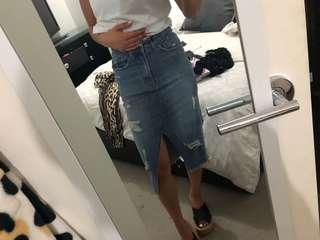 Supre knee length denim skirt sz 6