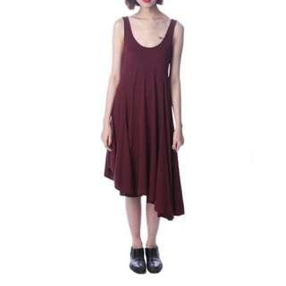 U-Neck Maroon Dress with Asymmetrical Hem