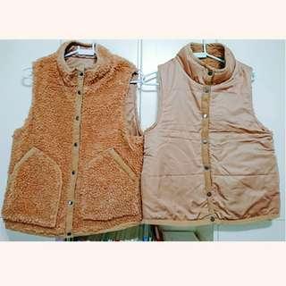 【兩件,可散,$80/件】女裝 啡色 雙面 風褸/抓毛 背心外套 (中碼/M size)