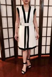 Gucci short A-line sleeveless bi-color plain elegant dress with GG belt (Available in black and white)