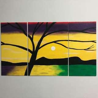 Hand Painted Triptych