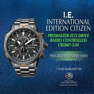 5710d590285 CITIZEN INTERNATIONAL EDITION PROMASTER SKY ECO DRIVE RADIO CONTROLLED GREY  ION PLATED BLACK DIAL CB5007-