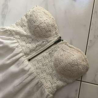 White dress asymmetrical hem