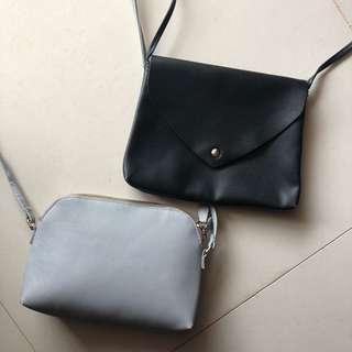 H&M Black & Baby Blue Sling Bag