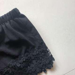 Black Crotchet Floral Pants