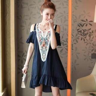 [CNY 2019 Collection] Pre Order [XL - 5XL] Plus Size Embroidered Dress