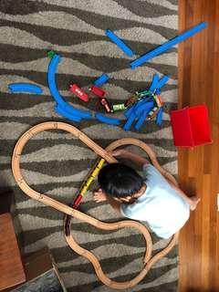 Ikea wooden toy train set + Thomas the train set