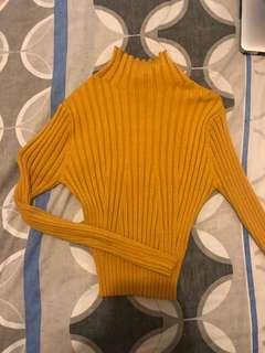 mustard skivvy knit long sleeve top