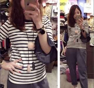 Korea Top 黑白間 喇叭袖
