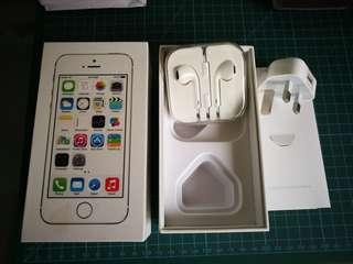 Iphone 5s box plus earpiece and charger