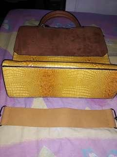 Yellow Leather and Sued bag