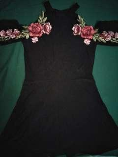 Black Dress with rose embroidery