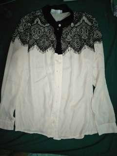 White and black long sleeves
