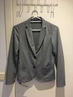 Uniqlo blazer coat outerwear houndstooth grey gray